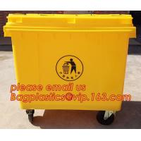 China 120l Plastic trash can plastic waste container plastic industrial bin, 1100L large plastic garbage trash bin, wheel bin on sale