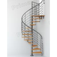 Iron Railing Wood Staircase Treads Customized Internal Spiral Stairs Manufactures