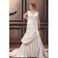 Plus Size Mermaid V Neck Wedding Dress Applique Chapel Train Wedding Gown Manufactures