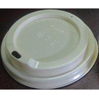 China Flat Shape Disposable Paper Coffee Cup Lids / 90mm PS White Plastic Lid on sale