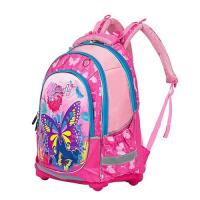 Pink Butterfly Printing Kid School Bag Nylon Padded Back Panel Student Backpack Manufactures