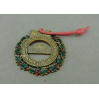 China Customized Zinc Alloy Ribbon Medals , 3D Die Casting Antique Brass Medals on sale