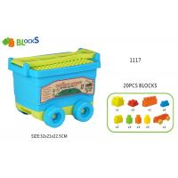 17   Building Blocks Toys For Toddlers Movable Wagon 32 Pcs Blue Pink Big Wheel Manufactures