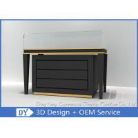 Black Commercial Gold Shop Glass Counter with MDF Wood + Tempered Glass + Lights Manufactures