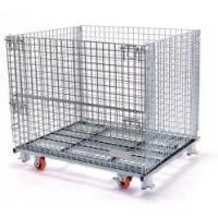 China Foldable Stackable Storage Cages On Wheels Galvanized Metal Wire Mesh Pallet Cage on sale