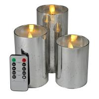 China Moving Wick Silvery Mercury Glass Led Pillar Candles on sale