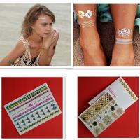 Professional Custom Gold And Silver Temporary Glitter Tattoo Stickers Manufactures