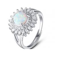 White Micro Pave Setting 925 Sterling Silver Opal Ring Luxurious Engagement Rings Manufactures