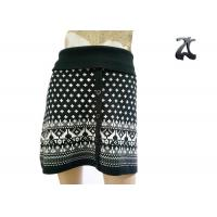 Pure Acrylic Womens Knit Skirts Contrast Color with Button Front Fit Style Manufactures