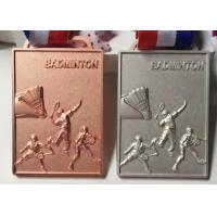 China Square Shape Custom Metal Medal 70*50*4mm For Team Badminton Games on sale