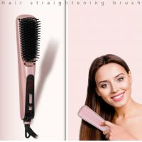 30S Fast Heating 15 Temperature Options LCD Display Ionic Hair Straightener Comb Electric Hair Brush Straightener Manufactures