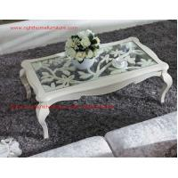Quality Neoclassical style Coffee table in smart flower craft with tempered glass top for sale