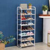 China 8 Tier Metal Mesh Shoe Rack White Color Powder Coating With Non - Slip Rods on sale