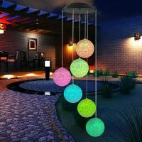 Solar LED Light Ball Pendant Bell Wind Chimes Color Changing Delicate Romantic Yard Garden Home Decor Manufactures