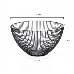Homecon Temporary Fruit Bowl  Kitchen Black Metal Wire Stainless Steel Fruit Storage Basket