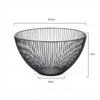 Quality Homecon Temporary Fruit Bowl  Kitchen Black Metal Wire Stainless Steel Fruit Storage Basket for sale