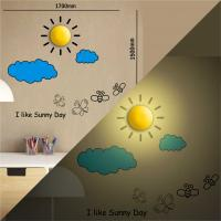 SUN shaped led lamp, creative VINYL wall sticker lamps for bedroom decor Manufactures