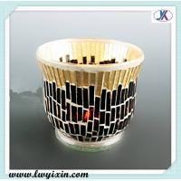 Quality Black and golden glass souvenirs /Mosaic glass candlestick/ recycled glass candle jars for sale