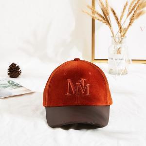 Velvet Adjustable Orange 62cm Embroidery Baseball Cap Manufactures