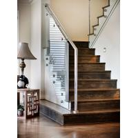 Carbon steel straight staircase with wooden tread modern design Manufactures