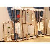 Store Wall Racks / Retail Clothing Racks Rose Gold Mirror Stainless Steel Plus Wood Manufactures