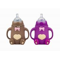 China Wide Neck Silicone Baby Feeding Bottle Bear Shape With Handle FDA Approved for sale