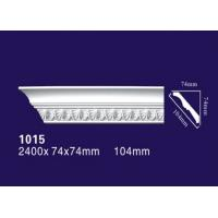 White Color Polyurethane Ceiling Mouldings , Lightweight Carved Cornice Mouldings Manufactures