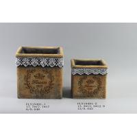 Diy Cement Flower Planters Garden Pots With Intaglio Flower And Ribbon Decorated 17.7 X 17.7 X 17 Cm Manufactures