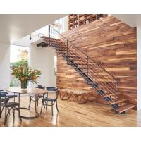 Solid Wood / Glass Tread Modern Straight Staircase Stainless Steel Handrail Manufactures