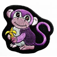 Animals Monkey Custom Iron On Patches Fabric Woven For Garment Jacket Clothing Manufactures