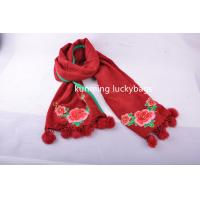 National wind hijab scarf with pompoms tassel fashion ladies' cotton winter scarf with embroidery Manufactures
