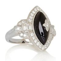 Engagement Ring for Women with Black Onyx and CZ Stones Manufactures