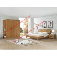 Nordic design Bedroom furniture by teak wood bed and nightstand with large size open door wardrobe Manufactures