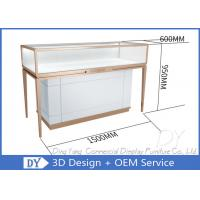 Luxury Rose Gold Stainless Steel Jewellery Display Cabinets For Retail Shop Manufactures