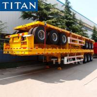 China TITAN tri axle trailer 40 tons shipping container platform semi trailer on sale