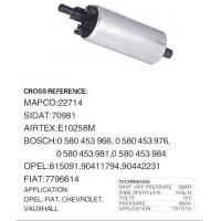 High Performance 0580453966 Auto Electric Fuel Pump For TOYOTA, OPEL, FLAT, CHEVROLET, VAUXHALL Manufactures