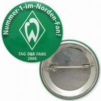 50mm Button Badges, Made of Tin, Customized Logos and Designs are Welcome Manufactures