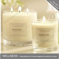 scented three cotton wick soy wax candle in clear glass jar  with gift box Manufactures