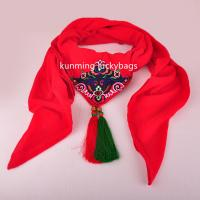 2016 pure color plain women muslim viscose hijab scarf national style scarf with red tassels Manufactures