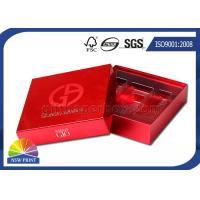 Fancy Red Square Cosmetic Rigid Paper Cardboard Gift Box With Plastic Inner Tray Manufactures