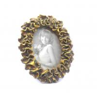 Environmentally Antique Oval Gold Picture Frames With Petal Leaf Waved Twist Border