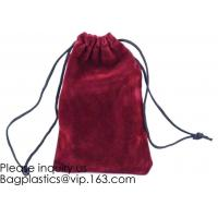 Trim Velvet Cloth Jewelry Pouches/Drawstring Bag Gift Bags,Wine Red, Blue, Red,