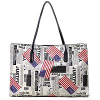 Newspaper and Stars and Stripes Prints Large Leather Tote Bags for Women Manufactures