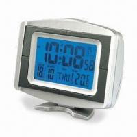 Radio-controlled Digital Clock with Thermometer, Reception Indicator, LCD Backlight and RoHS Mark
