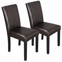 China Urban Style High Back Leather Dining Chairs With Solid Wood Legs Chair on sale