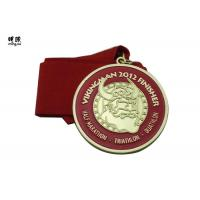Long Distance Running Custom Award Medals , Plaques And Medals Red Ribbon Lanyard Manufactures