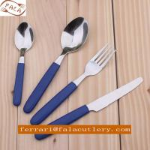 Economic Food Grade 12 Pcs Navy Blue Handle Cutlery Flatware Manufactures