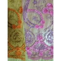 Stretch Sequin Embroidered Tulle Fabric Soft With Shinning Cord Manufactures