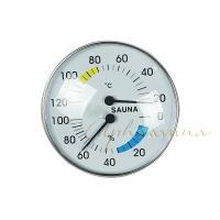Stylish Type Round Chrome Trim Deluxe indoor Thermometer Hygrometer for Sauna