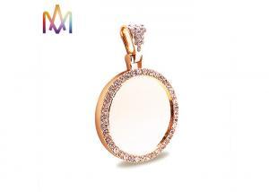 China Round Photo Frame Diamond Pendant DIY Jewelry Charms on sale